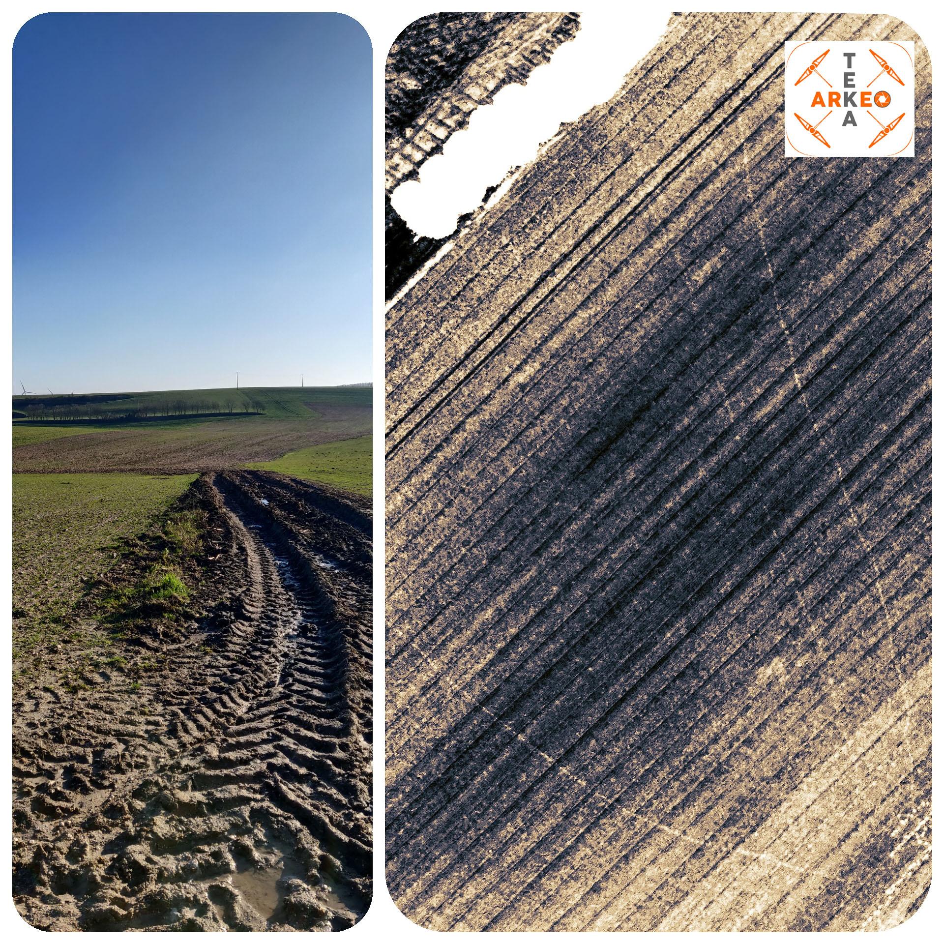 Fossé archéologique visible dans un champ labouré