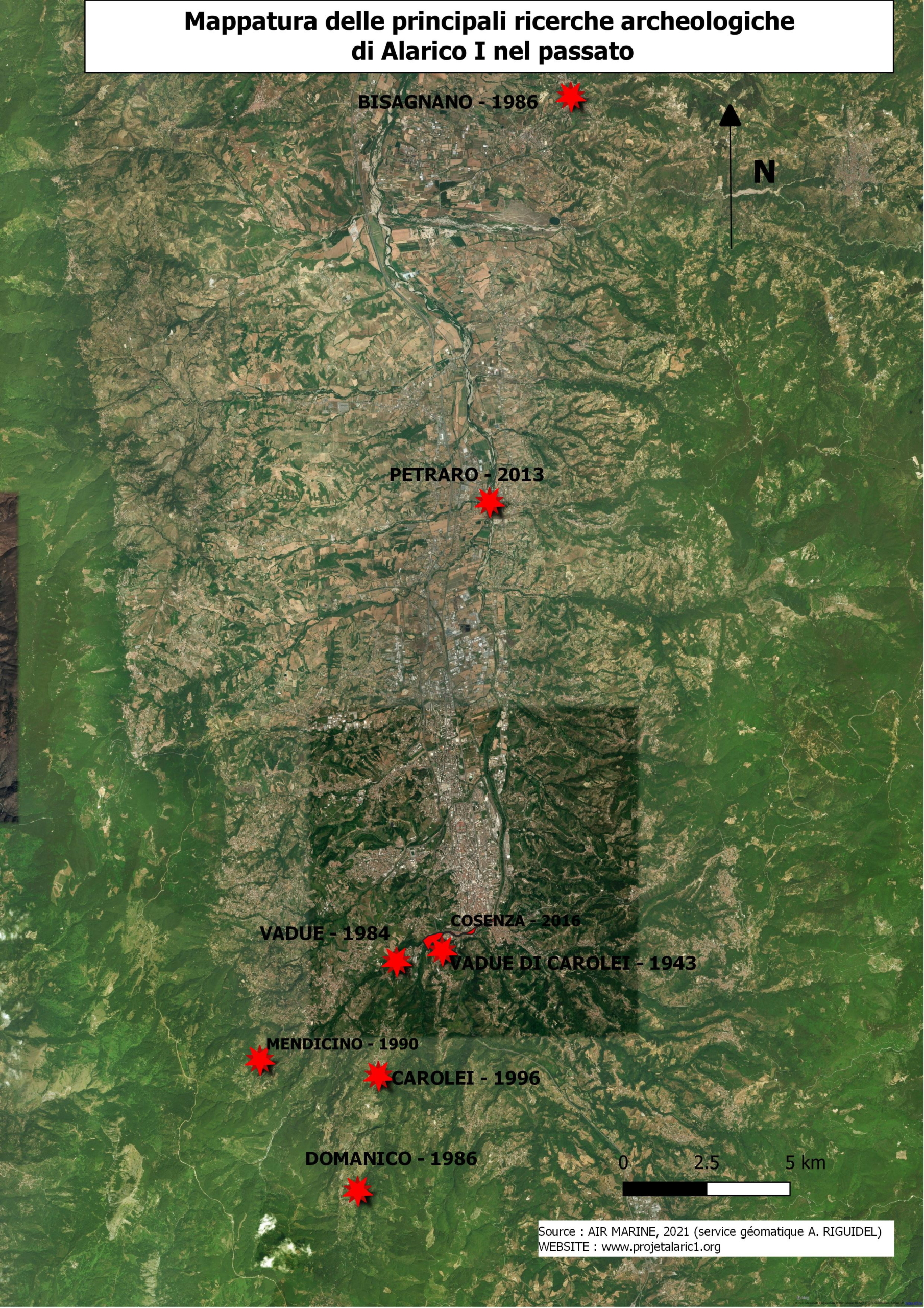 Mappatura delle principali ricerche archeologiche di Alarico I nel passato